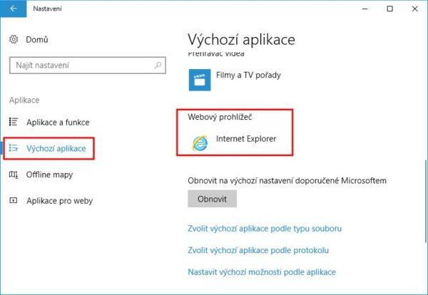 Jak nastavit výchozí prohlížeč ve Windows 10