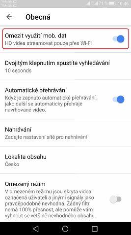 Jak šetřit mobilní data při sledování Youtube na android telefonu - žrouti mobilních dat