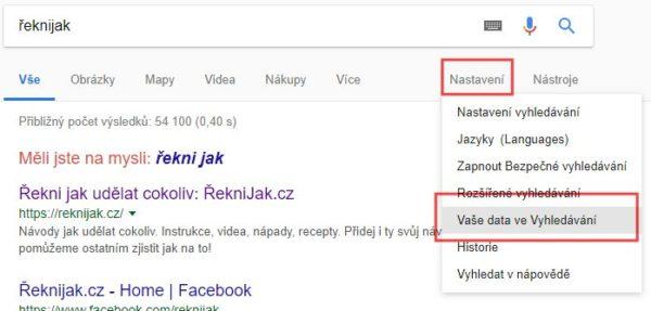 Jak vymazat historii vyhledávání na Google
