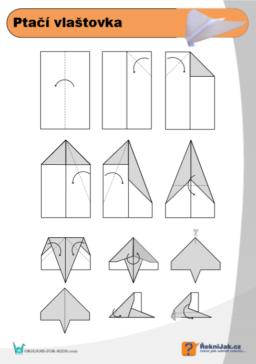 Ptačí vlaštovka - origami diagram