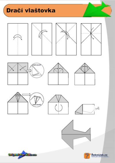 Dračí vlaštovka - origami diagram - náhled