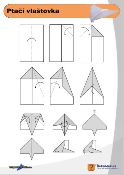 Ptačí vlaštovka - origami diagram náhled