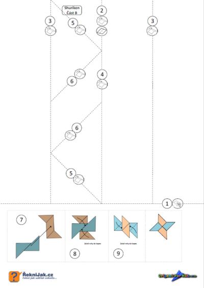 Shuriken - jak vyrobit origami ninja hvězdici - skládací vzor část A
