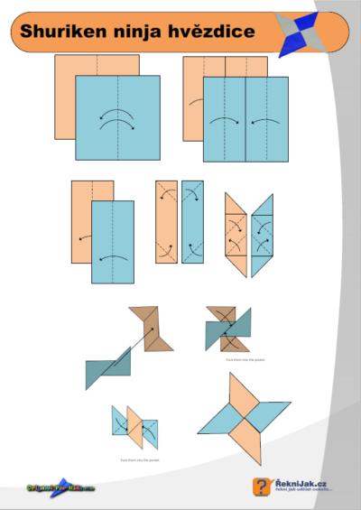 Shuriken - jak vyrobit origami ninja hvězdici - diagram