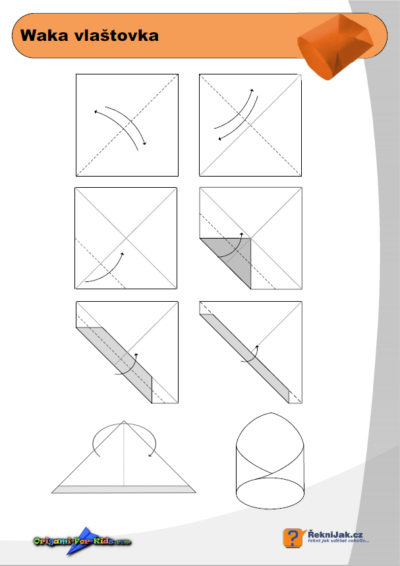 Trubková vlaštovka - waka vlaštovka - origami diagram - náhled