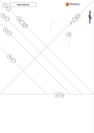 Trubková vlaštovka - waka vlaštovka - origami skládací vzor - náhled