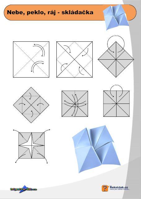 Nebe, peklo, ráj - origami skládačka - diagram