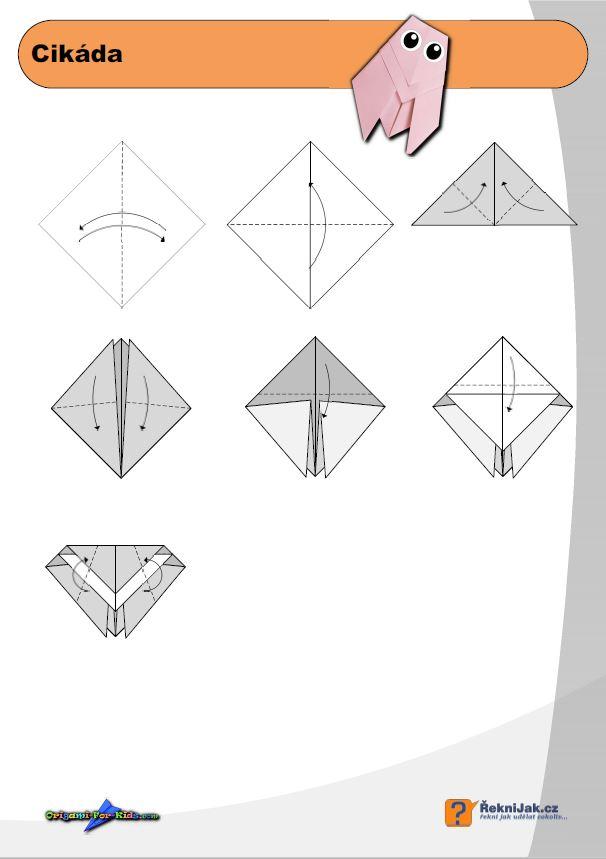 Cikáda - origami diagram náhled