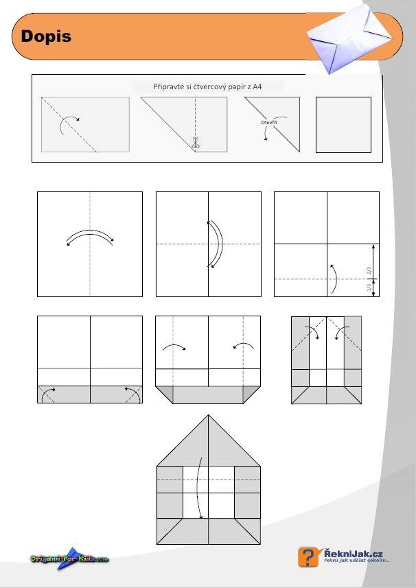 dopisní obálka z papíru - origami diagram - náhled