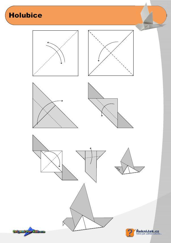 Holubice - origami diagram náhled