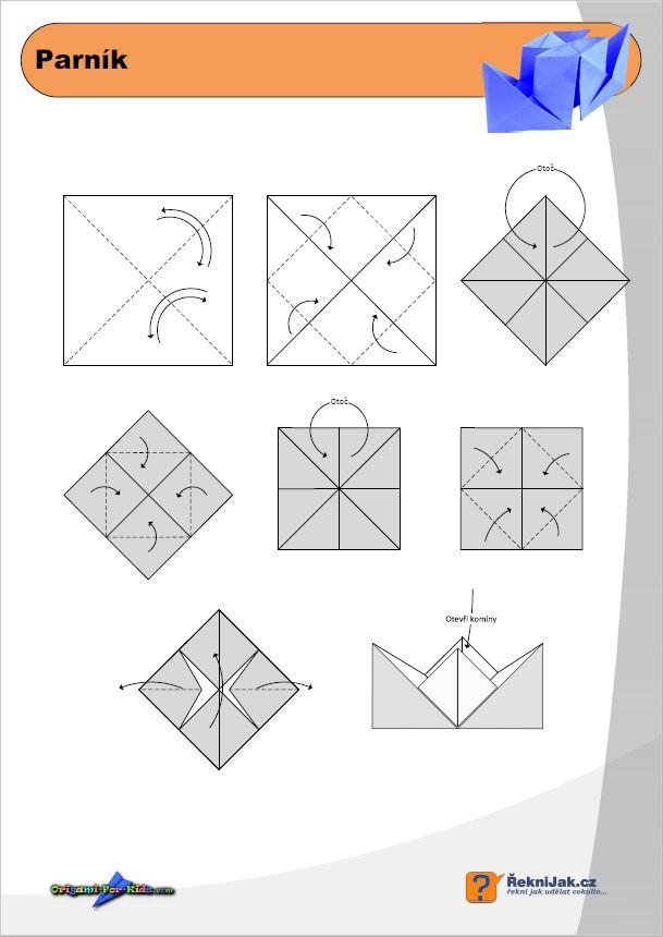 papírový parník - origami diagram - náhled