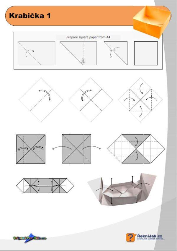 krabicka 1 origami diagram nahled