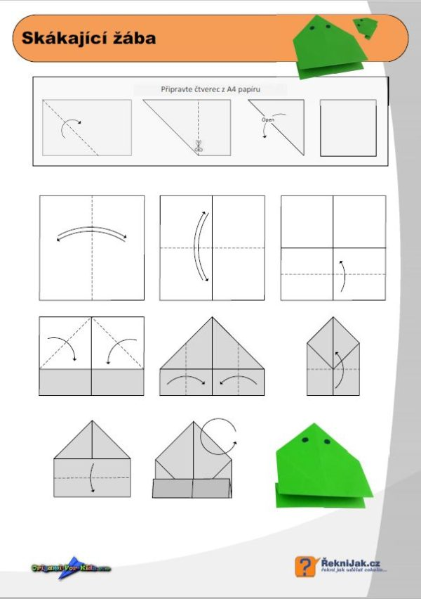 origami skákající žába diagram náhled