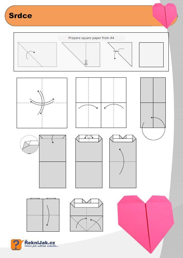 Origami srdce diagram nahled