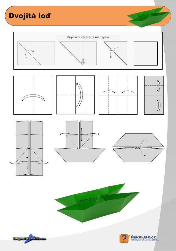 Origami dvojitá loď - jak složit loď z papíru A4