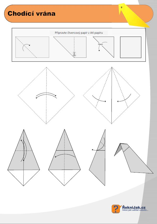 origami chodici vrana diagram nahled